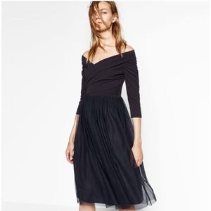 Zara Basic Off the Shoulder Wrap Ballerina Dress